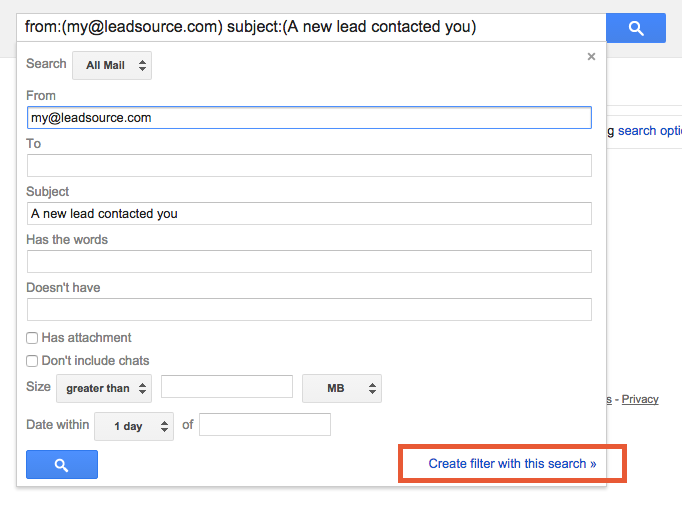 Gmail Search Form