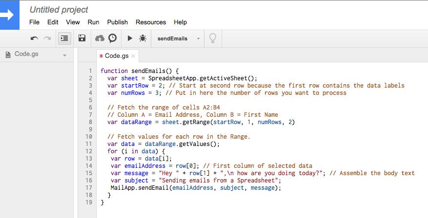 Google Sheets Code Editor