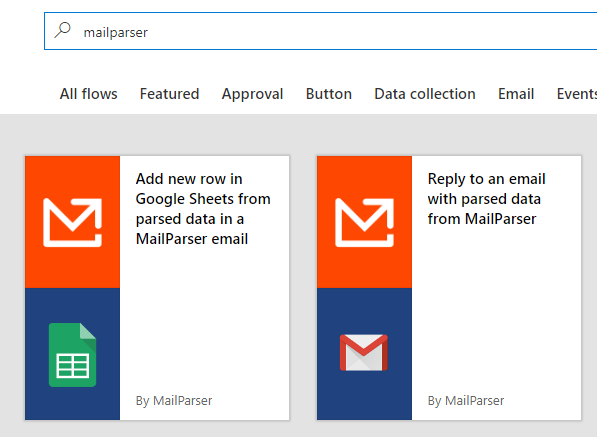microsoft flow template email parser