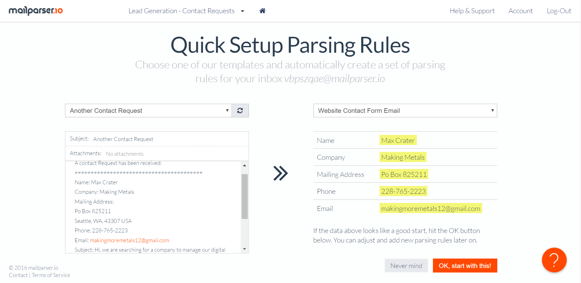 email parsing rules