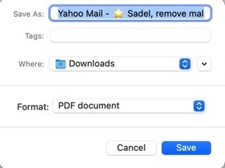 Yahoo Email Save as PDF
