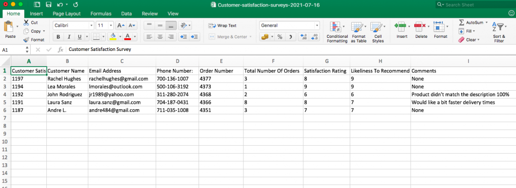 Mailparser Exported Outlook to Excel File