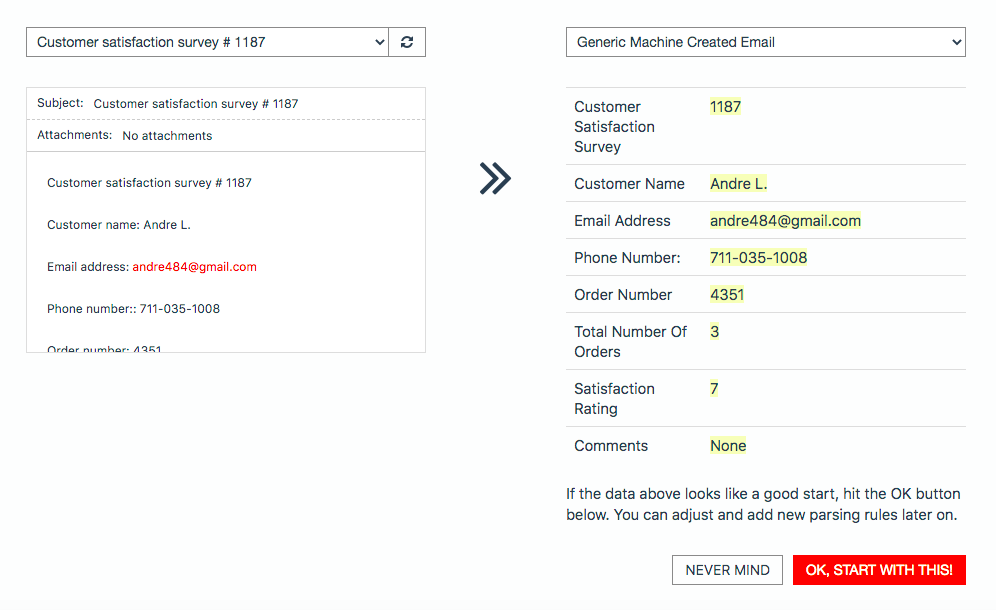 Mailparser Generic Machine Created Email Parsing Rules