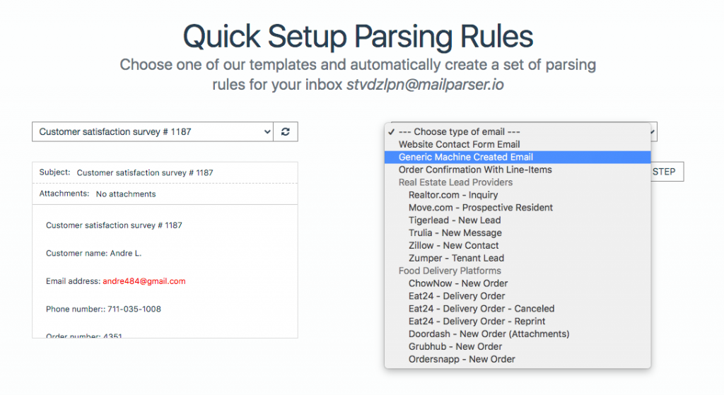 Mailparser Types of Automatic Parsing Rules