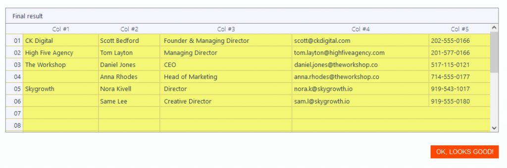 Parse Data from Excel with Mailparser Final Result